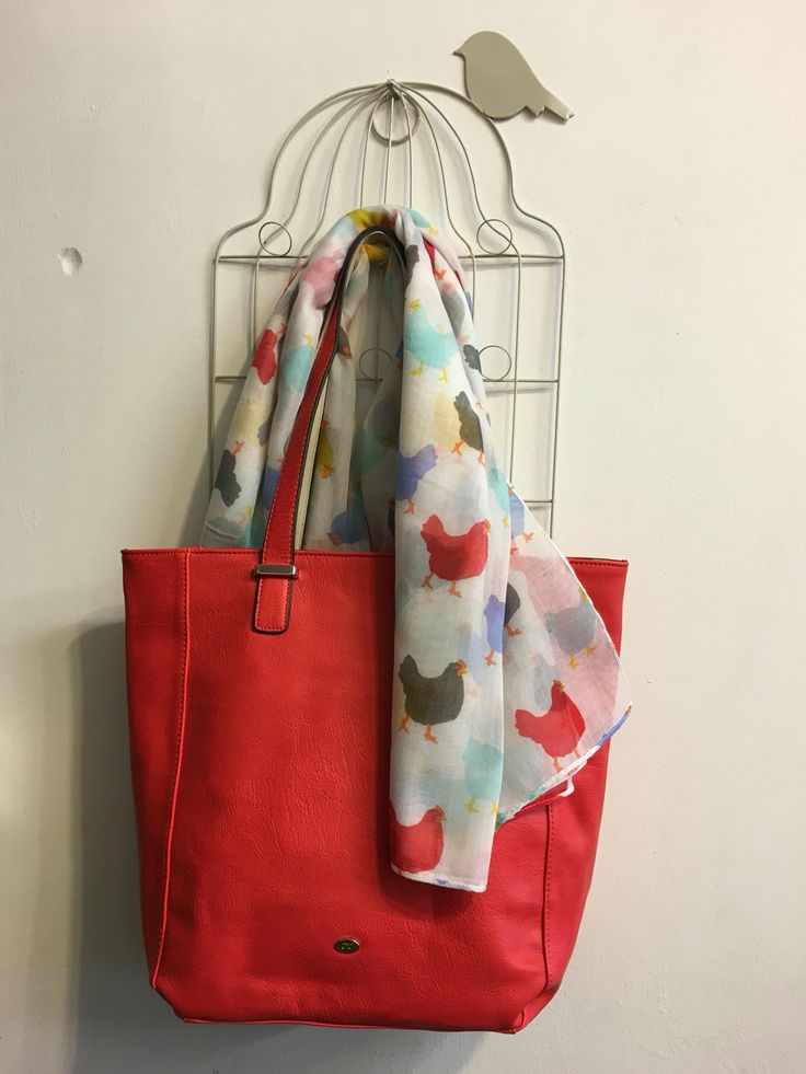 Cute colourful chick print scarf with red zip top tote bag.