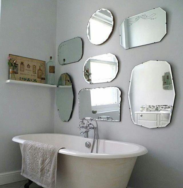 inspiration deco du jour habiller un mur de salle de bains d anciens miroirs biseautes miroirs muraux chambre grands miroirs muraux decoration murale miroir