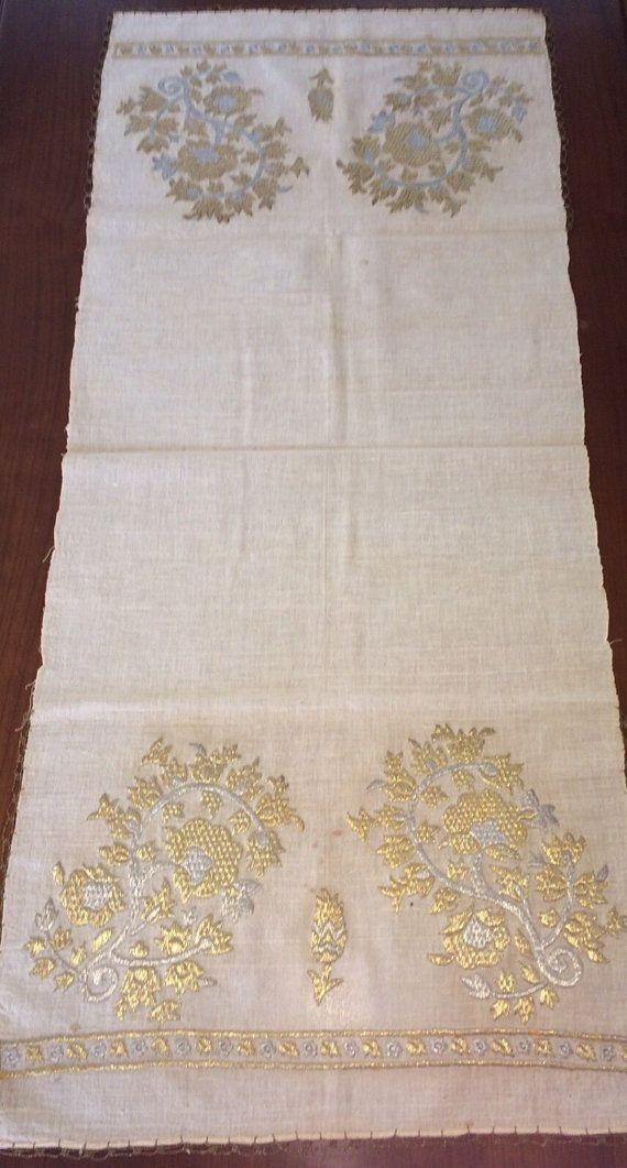 This is a beautiful example of Ottoman-Turkish embroidered yaglık / napkin .  It…