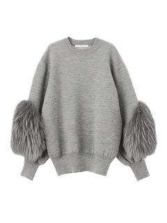 SLEEVE FUR KNIT TOP