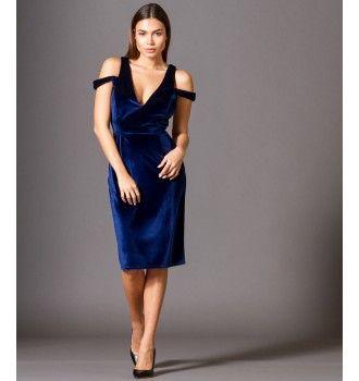 43b3c38e9cbd Βελούδινο Φόρεμα με βε και Ανοιχτή Πλάτη - Μπλε Ρουά
