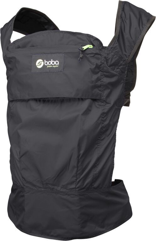 This is the ultralight Boba Air travel baby carrier. Folds into itself and stows in your purse! (Boba Air, Black, 65.00, www.boba.com)