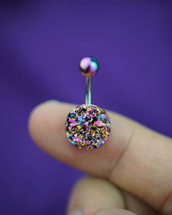 belly ring - belly button ring - belly piercing - belly jewelry - colorful gem - belly ring 14g