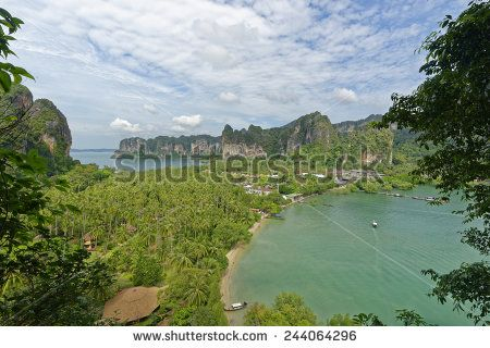 http://www.shutterstock.com/pic-244064296 Thailand, Railay Beach From One Of Two View Point Hike,S Through It Cliff Like Mountain Forests. Below You Can See Two Of Its Three Tropical Beach Bays And Palm Tree Forests In Between Stock Photo 244064296 : Shutterstock #thailand #stockphoto #thailandphoto #stockimage #thailandstock