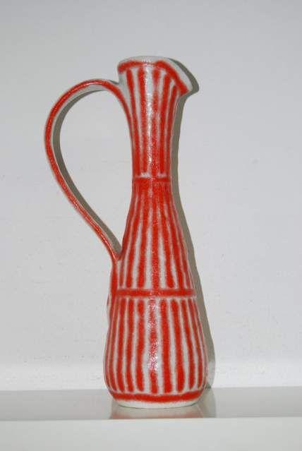 Bottiglia brocca vaso guido gambone bianco e rosso con manico