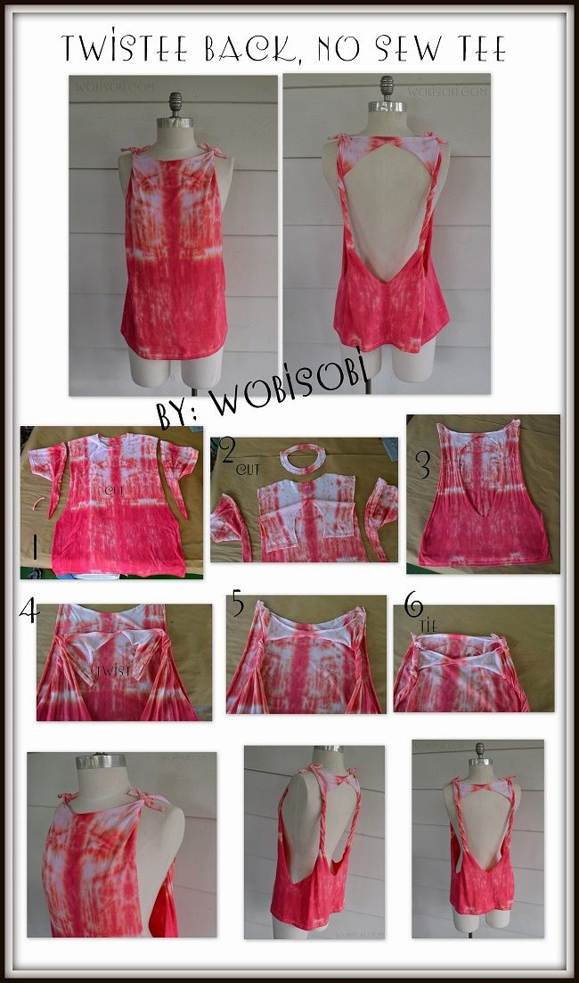 WobiSobi: No Sew, Tie Dyed, Twisted Back Tee: DIY