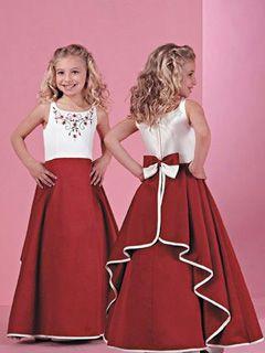 Cute una línea de palabra de longitud Scoop Embroideery escote flores vestido de niña