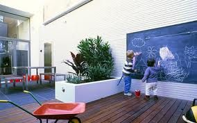 kid friendly courtyard - blackboard