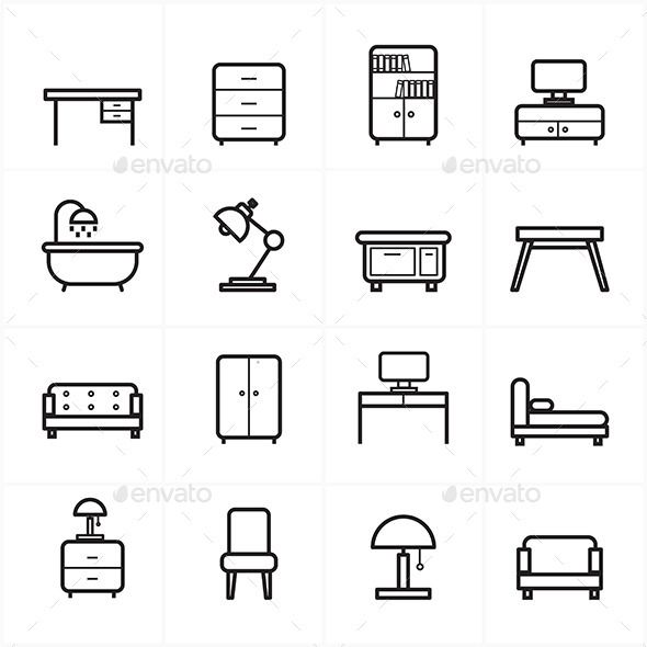 Flat Line Icons For Furniture Vector Illustration