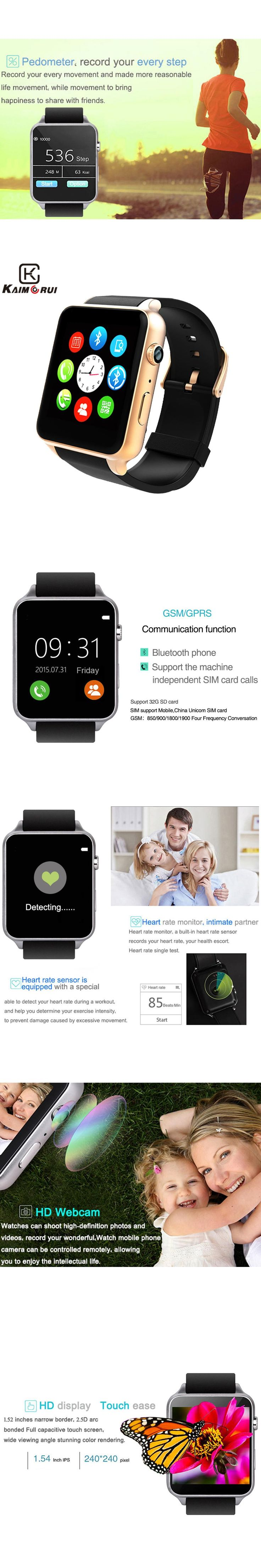 Kaimorui Bluetooth Smart Watch Heart Rate Sleep Monitor Support TF/SIM Card Smartwatch for iPhone and Android Smart Watches