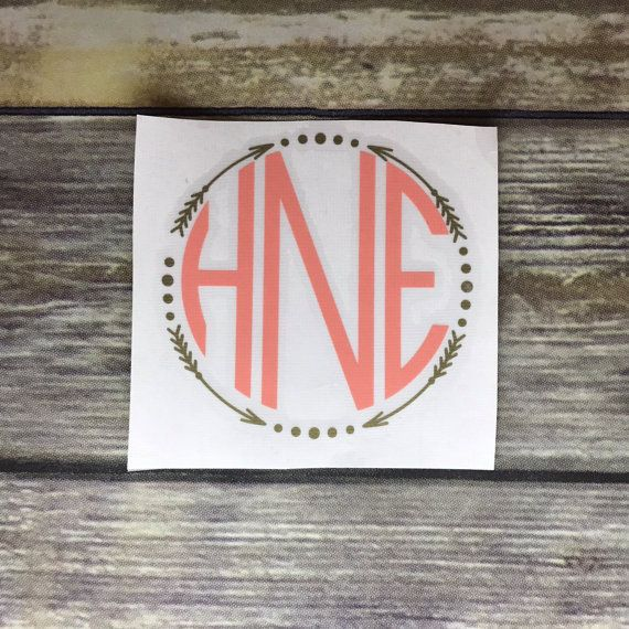 Personalized Arrow Circle Monogram Vinyl Decal | Two Colors | Custom Sticker | Perfect for: Car Window, Yeti, Laptop, Notebook, Planner