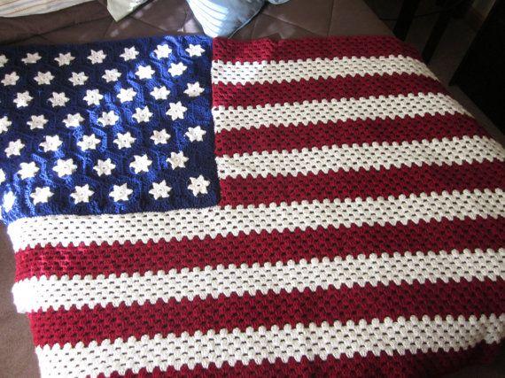 American Flag Crocheted Afghan/Blanket/Throw