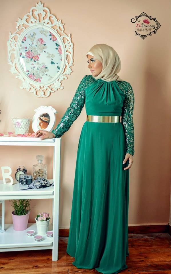 green evening hijab dress, Soiree hijab dresses by 27dresses http://www.justtrendygirls.com/soiree-hijab-dresses-by-27dresses/