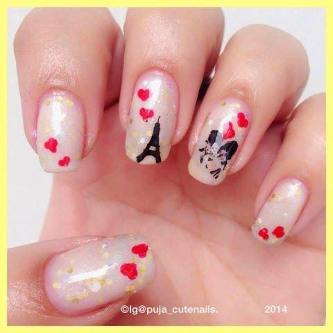 Cute nails: Love in Paris nail art