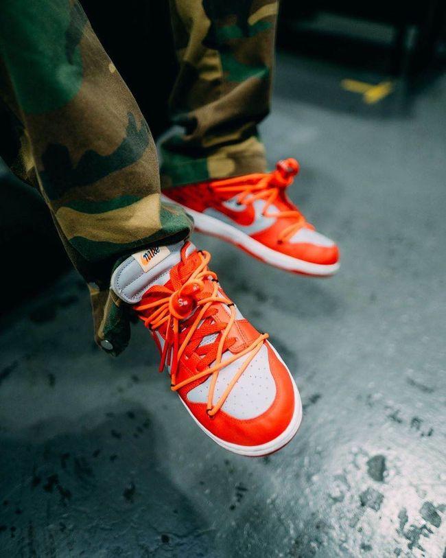 Dunk Low Off-White University Red   Nike dunks, Nike dunk, Shoes nike
