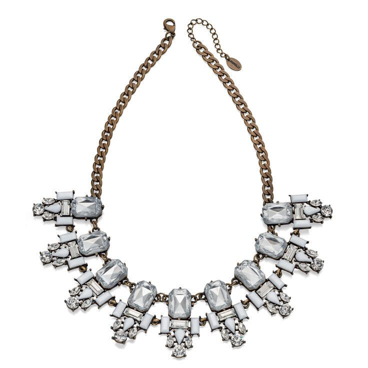 Designer Antique Brass Clear & White Crystal Cluster Necklace 39 + 5cm by Fiorelli - From the new Fiorelli Costume Autumn Winter collection, this statement necklace is all about making the ordinary extraordinary. Produced from white or yellow alloy, this piece includes the chain pictured and comes packaged in a beautiful Fiorelli gift pouch: http://ow.ly/XA13I