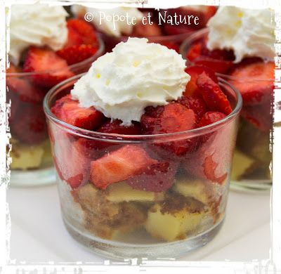© Popote et Nature -verrine fraise au far breton et à la chantilly