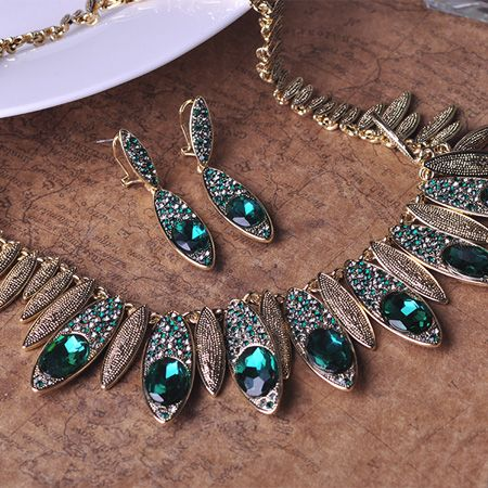 Madrry Classic Dubai Jewelry Sets Necklace&Earring Antique Gold color Green Rhinestone French Hook Brincos Bruiloft Sieraden