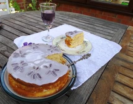 To celebrate the endless summer - a Violet Cake made with violet syrup and crushed parma violets.