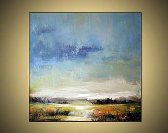 Grande 36 x36 pollici astratto blu giallo rosa paesaggio dipinto originale olio e acrilico su tela