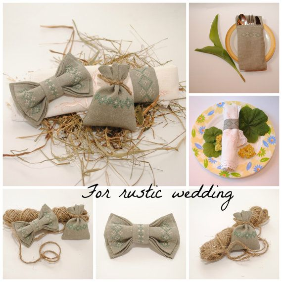 Embroidered set for rustic wedding Set of bow от accessories482
