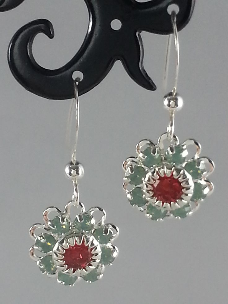 Green and red Swarovski crystals on silver earrings