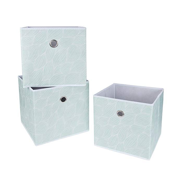 Sbs Collapsible Foldable Fabric Storage Boxes Cubes Bins Baskets Mint Green Leaf Pattern 3 Pack Fabric Storage Boxes Fabric Storage Cubes Fabric Storage