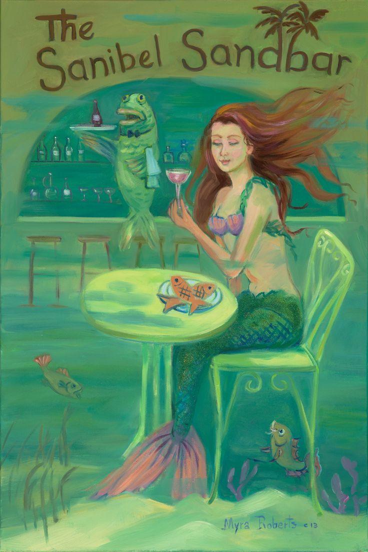 Sanibel Sandbar Mermaid Myraroberts ArtworkVintage FloridaSanibel