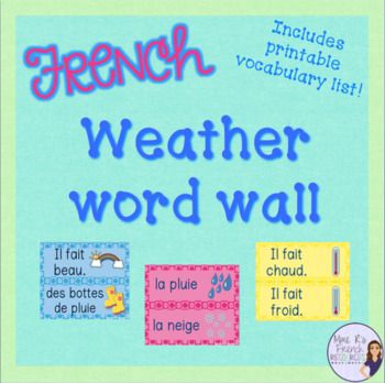 Do you want an easy way to help reinforce French weather expressions? These word wall cards are perfect for your bulletin board or wall, and they will be a perfect addition to your classroom! You'll get 41 different inside cute borders of different colors!