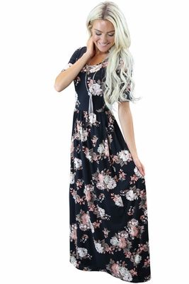 "Your new favorite dress! Comfy, flattering, and GORGEOUS!   ""Miranda"" Modest Maxi Dress in Black Floral Print"