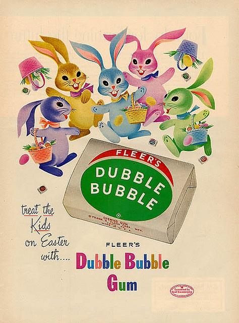 """Vintage Easter """"Double Bubble Gum"""" advertisement: Double Bubbles, Dubbl Bubbles, Vintage Easter, Vintage Observed, Dubble Bubble, Easter Bunnies, Bubbles Gum, Vintage Ads, Bubble Gum"""