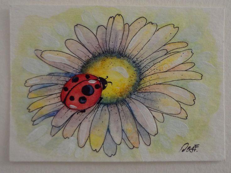 ACEO Original painting ladybug flower lucky miniature art Desf