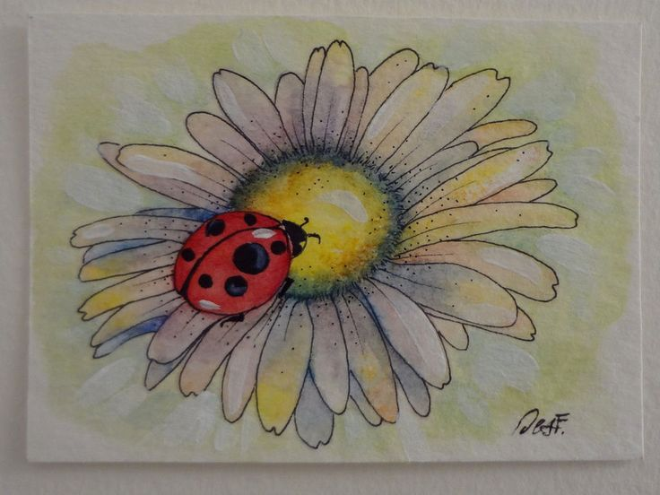 ACEO Original painting ladybug flower lucky miniature art Desf