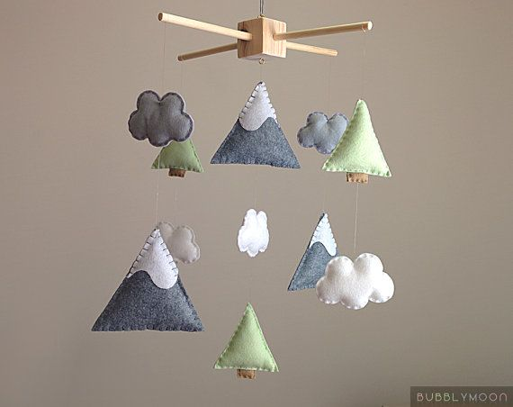 Mountains Baby Mobile, Modern Nursery Decor, Trees Baby Nursery Mobile, Clouds Baby Mobile- Cot/ Crib Mobile - Nature Nursery Decor