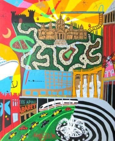 "Saatchi Art Artist Karlijn Surminski; Collage, ""Sants Montjuïc"" #art"
