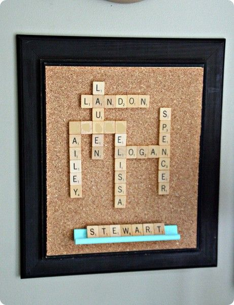 scrabble family name art, put last name on the letter board beneath diy