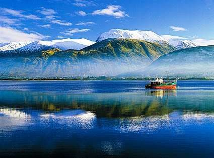 Ben Nevis Scotland in winter -    the highest mountain in the British Isles located at the western end of the Grampian Mountains.