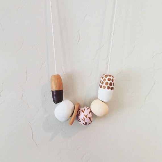 Chunky clay beaded necklace // handmade boho statement jewlery