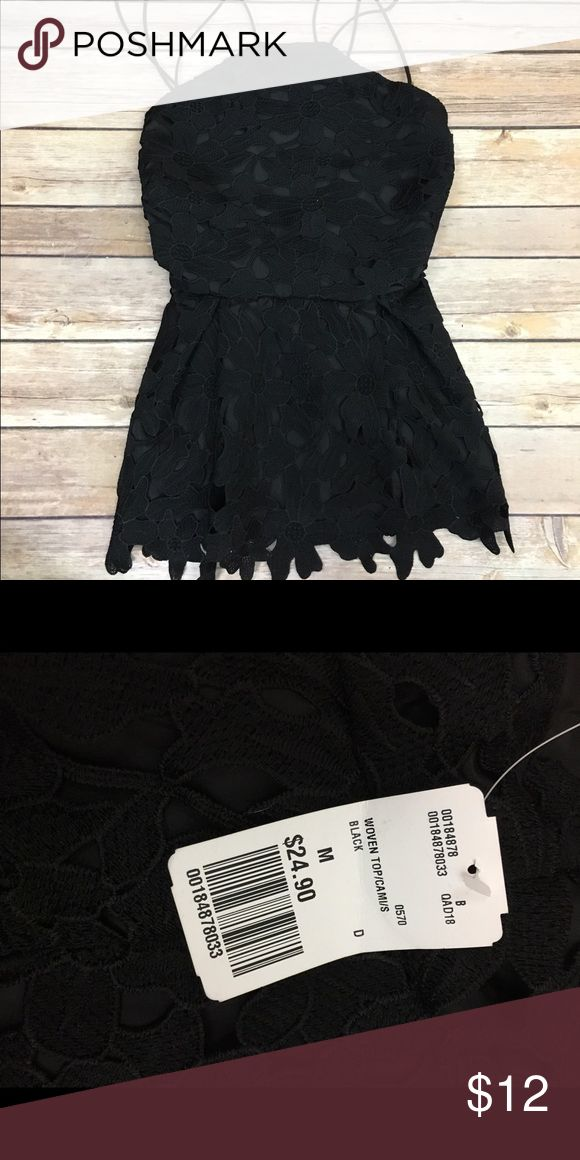 NWT super cute going out shirt cross cross black floral lace tank! price is negligible Forever 21 Tops Tank Tops