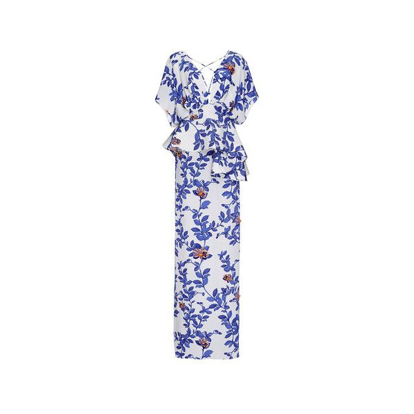 Johanna Ortiz (61 980 UAH) ❤ liked on Polyvore featuring dresses, floor length dresses, flower pattern dress, flower print dress, floral print dress and floral peplum dress