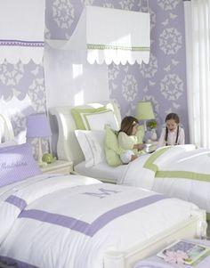 girls purple green bedroom   Soft shades of purple and green are ideal when combined with white in ...