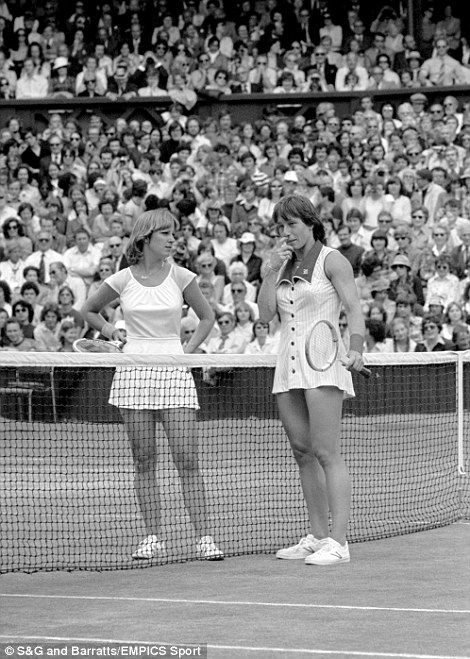 Two sporting icons here, Martina Navratilova and Chris Evert, at the net after a disputed line call during their 1978 final. Navratilova won in three sets - she beat Evert in all five of their Wimbledon finals and won nine singles titles in all between 1978 and 1990. Evert won the crown twice at the All England Club but overall she won the same number of Grand Slam titles as her great rival, 18