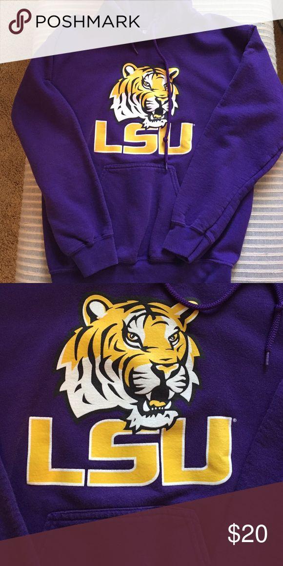 LSU sweatshirt Small but fits like a bigger medium. LSU sweatshirt. Purple with yellow & black design Gildan Jackets & Coats
