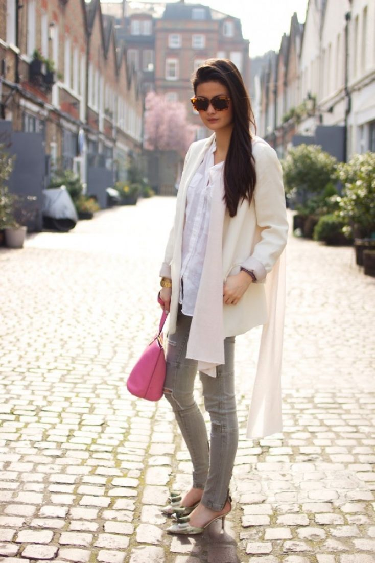 Peony Lim - Zara shirt and jacket, Warehouse pants, cashmere scarf ...
