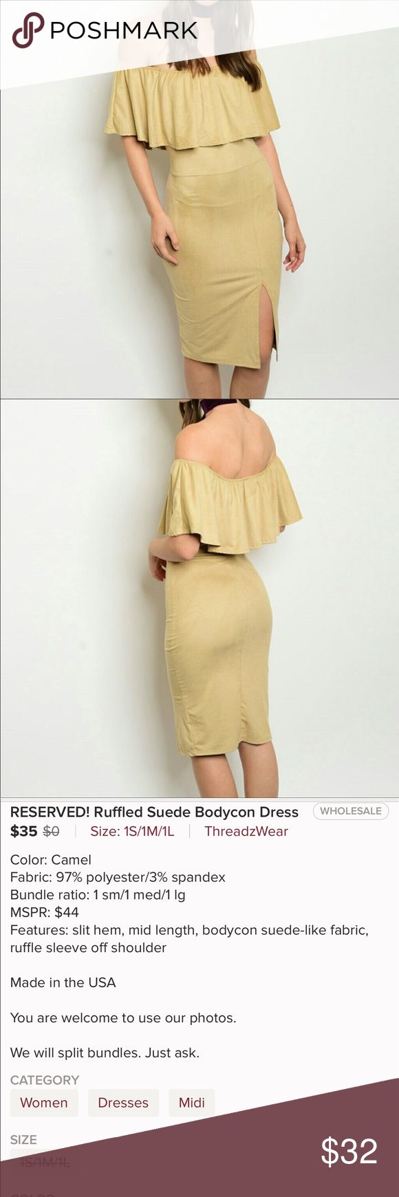 ❤️Bodycon Dress Ruffled off the shoulder Bodycon Dress in Suede-Like fabric. Camel color with. Mid-Length Slit Hem.                                                                       *97% Polyester *3% Spandex ❌TRADES •PRICE FIRM Threadzwear Dresses Midi