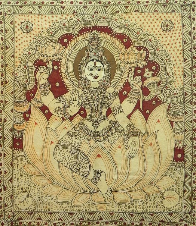 Lakshmi - Hindu Goddess of Wealth and Prosperity - Kalamkari Painting