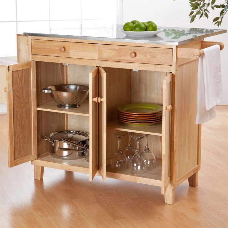 Stainless Steel Top Kitchen Island Counter Height Utility Table In Natural Wood Finish Wood