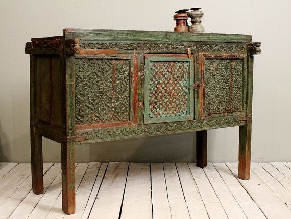 Reclaimed Antique Indian Green Red Damachiya Media Console Sideboard Buffet  on Etsy, £608.00 - 101 Best India Apartment - Interior Door Inspiration Images On