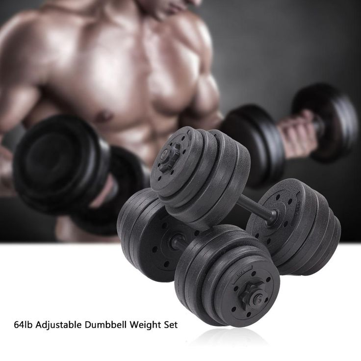 TOMSHOO 64LB Plates 2 * Bars 4 * Collars Adjustable Dumbbells Set Barbell Plates Home Gym Fitness Body Workout Weight Training