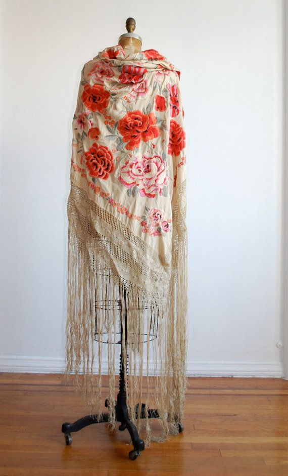 piano scarf, gorgeous Rose embroidery